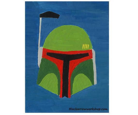 Boba Fett Mandalorian Mask ACEO, original acrylic painting    ...BTW, please check this out:   http://artcaffeine.imobileappsys.com