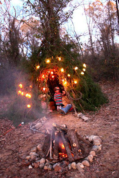 homemade gypsy teepee. all ya need are some branches and some zip-ties! don't forget the Christmas lights!