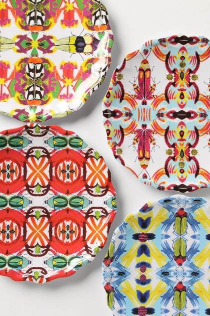 What's the buzz this summer? Insect designsDecor, Melamine Plates, Anthropology, Dinner Plates, Pattern, Kaleidobug Melamine, Colors Schemes, Plates Wall, Anthropology Plates