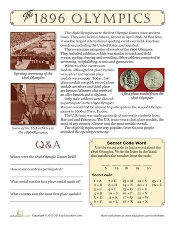 Worksheets: 1896 Olympics