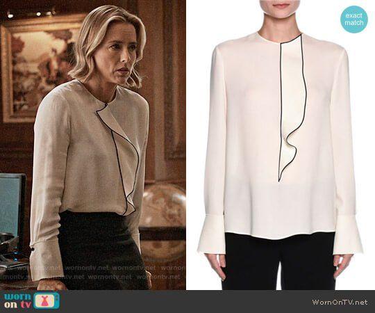 Elizabeth's white ruffled front blouse on Madam Secretary.  Outfit Details: https://wornontv.net/84694/ #MadamSecretary
