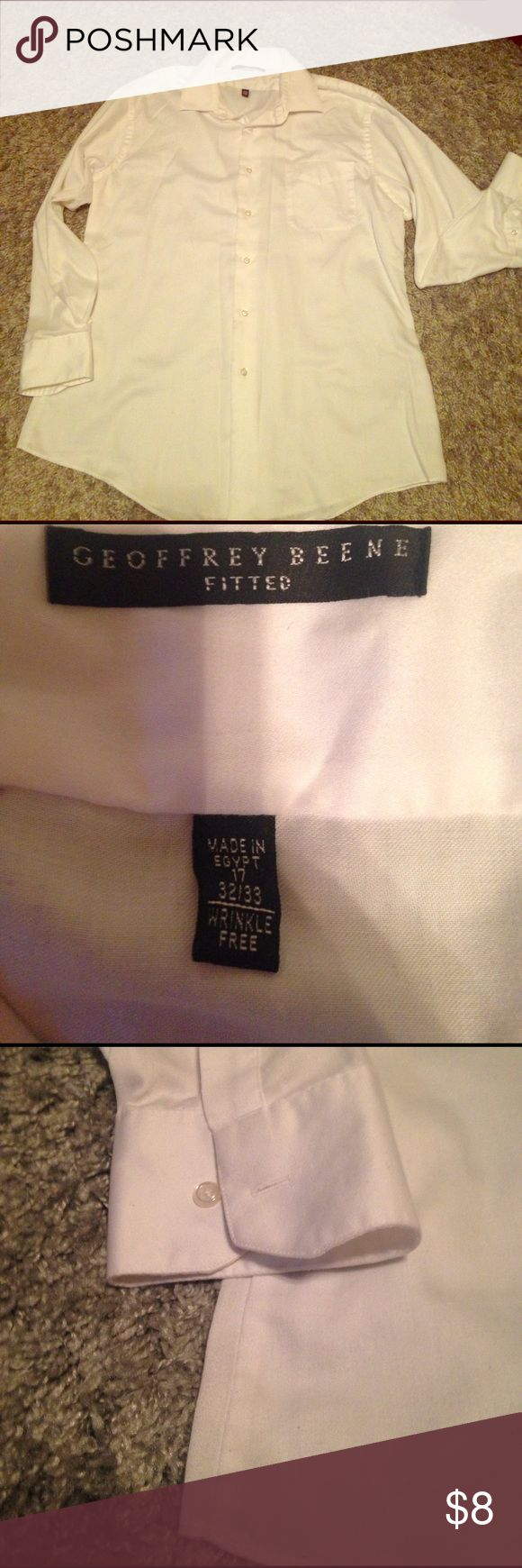 Men's Geoffrey Beene Dress Shirt EUC. Men's Geoffrey Beene dress shirt. Size 17, 32–33. It is a fitted dress shirt. Color is white. Check out my other listings for bundle deals! Geoffrey Beene Shirts Dress Shirts