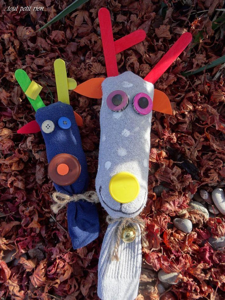 Bricolage enfants. Rennes chaussettes! www.pinterest.com/fleurysylvie et www.toutpetitrien.ch