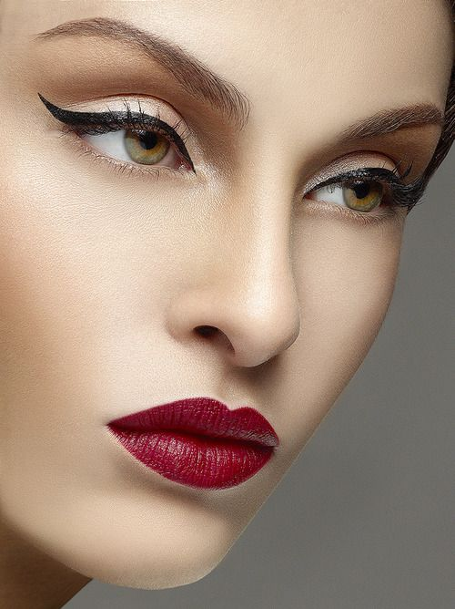 Classic - Ivory Translucent Base With Hint Of Blush, Slightly Contoured Lid, Winged Liquid Liner, Red Lip