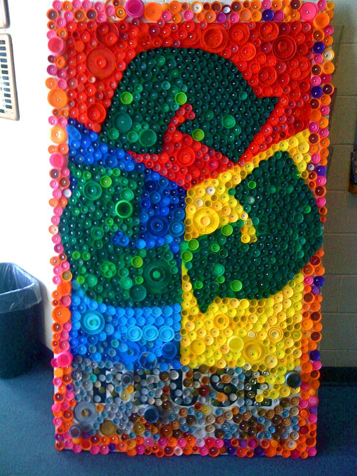bottle cap mural recycled art projects pinterest