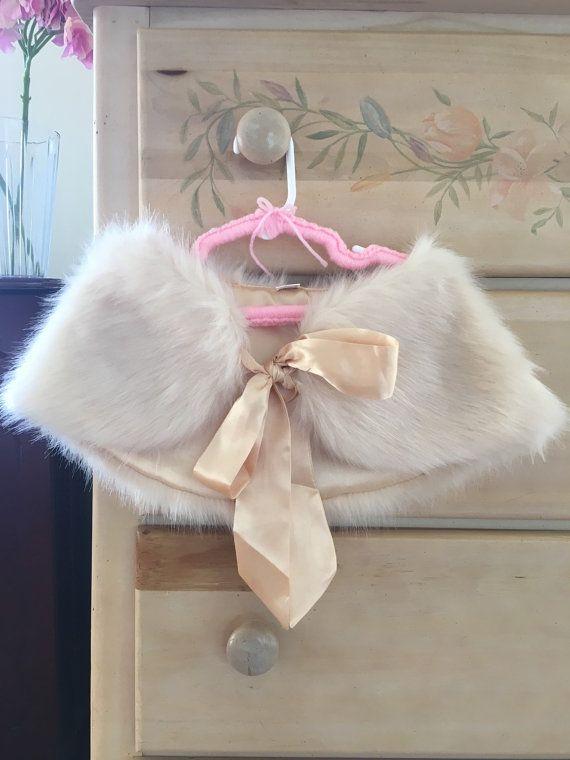 Children Fur Wrap Flower Girl Faux Fur Wrap Ivory White by AnyaLiu