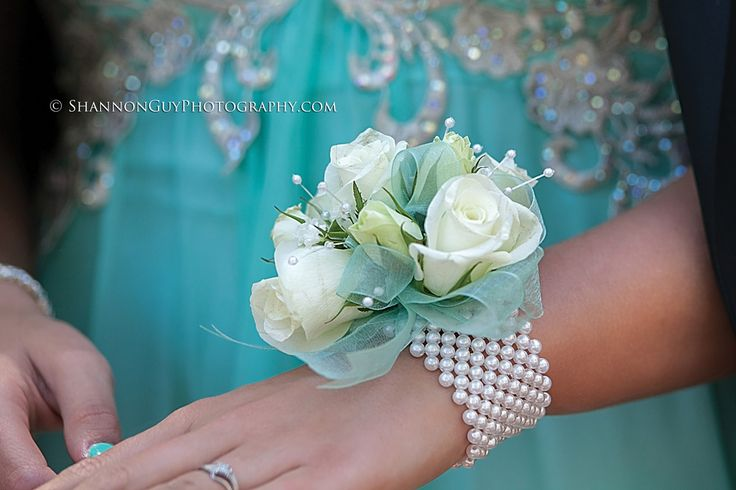 Tiffany Blue prom dress, matching corsage.
