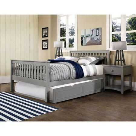Barrett Full Bed with Trundle, Grey Finish