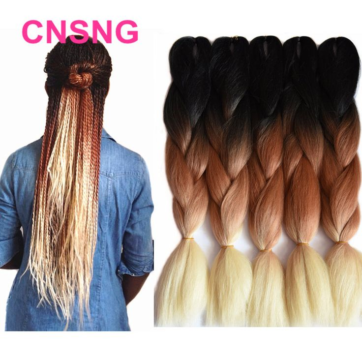 Ombre Kanekalon Braiding Hair Synthetic Jumbo Braiding Hair Three Tone Black Brown Blonde Braids 24inch 100g/pc Hair Extensions