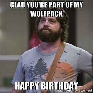 glad you're part of my wolfpack happy birthday | Alan Hangover