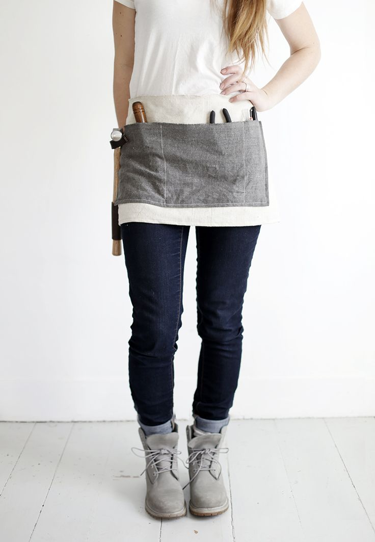 """Waxed canvas tool apron. In my case, waxed canvas """"can't let go of my phone and have no pockets"""" apron."""