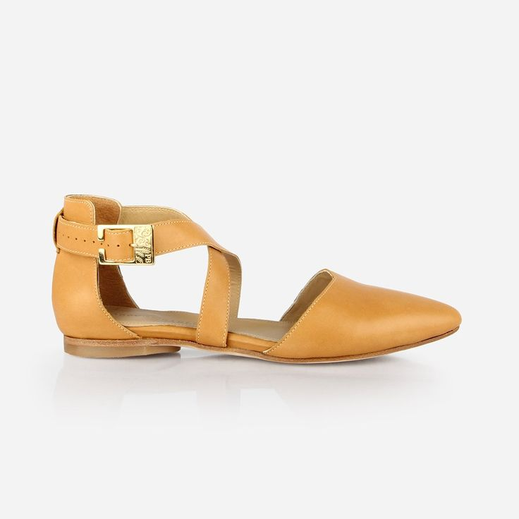 The Strappy Sandal - honey leather womens criss-cross sandal - Poppy Barley