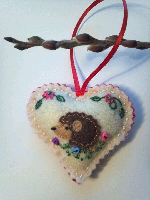Felt Heart Hedgehog Ornaments / Keepsakes / by CheekyChickabees, $20.00