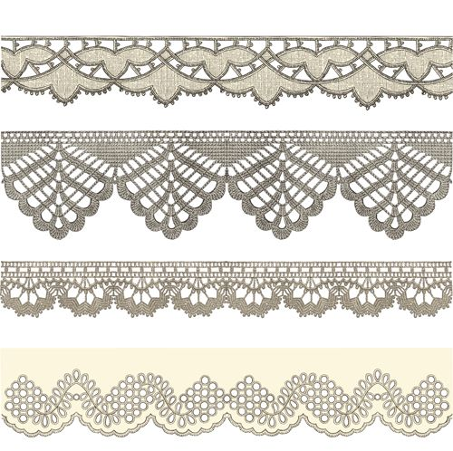 Vintage Lace ribbons vector 01 - Vector Frames & Borders free download