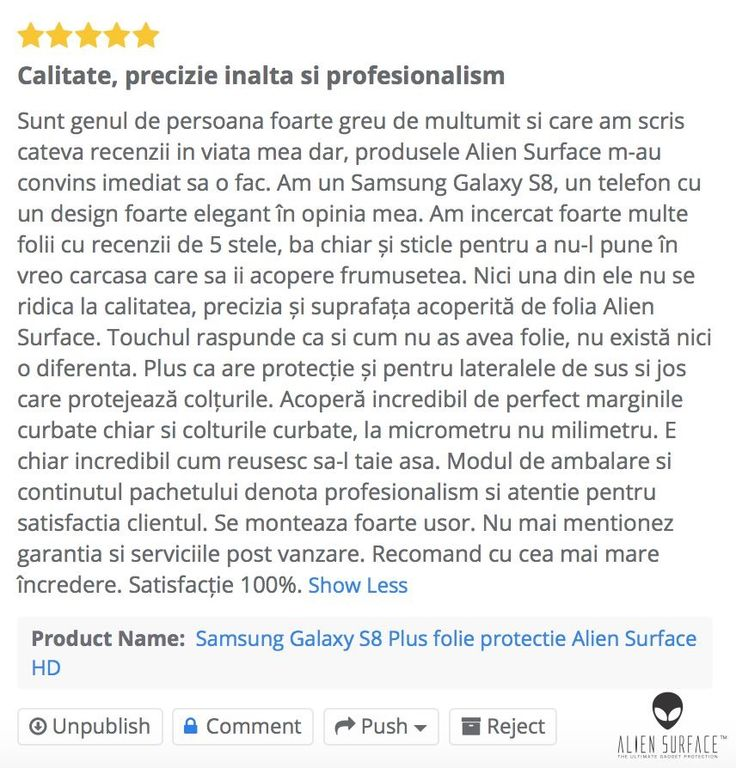 Robert, mulțumim pentru feedback! 🙏  Review folie protecție 👽#AlienSurface™ pentru Samsung #GalaxyS8⎜#S8Plus.  🤝www.aliensurface.ro