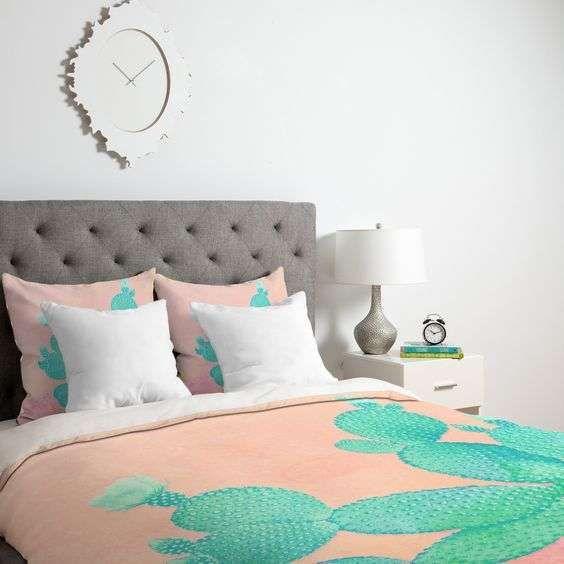 Cactus, tendenza arredamento 2017 - Completo letto con cactus