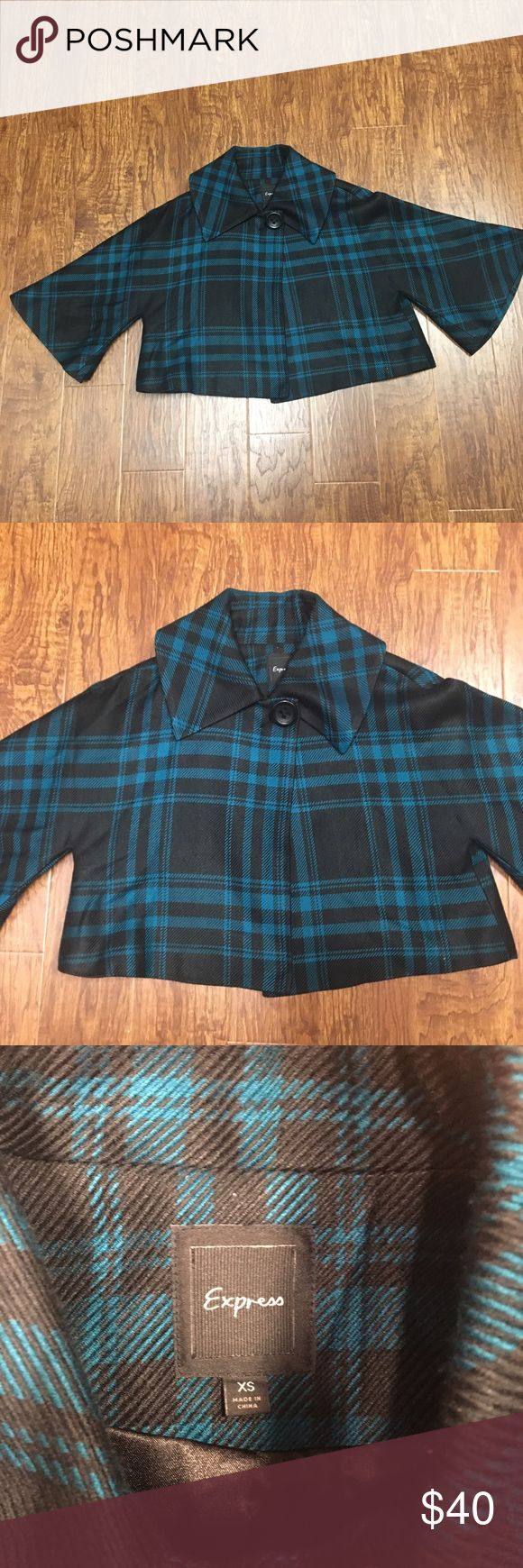 Express teal & black plaid cropped swing coat XS Adorable plaid swing coat. Never worn. Size XS. Fits a 2 up to a 6 Express Jackets & Coats