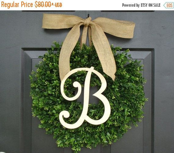 Welcome to our wreath shop! Our wreaths have been featured in Better Home and Gardens Magazine, TVs Extreme Makeover: Home Edition, Southern Living Magazine Home Builders, Nails Magazine, and many other blogs and websites. Discover quality, stylish, gorgeous hand-made wreaths at Elegant Holidays!  Your beautiful PAINTED Single Letter Monogram can be framed by a round, lush realistic artificial plastic boxwood wreath and hung with a custom colored burlap ribbon of your choice. The monogram…