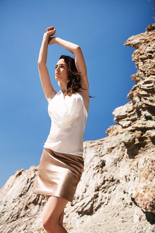 Bicolor drape bamboo hemp dress (DSS1510B) Menesthò visit www.menestho.com to pre-buy #menestho #ethical #sustainable #fashion #resortwear #ss15