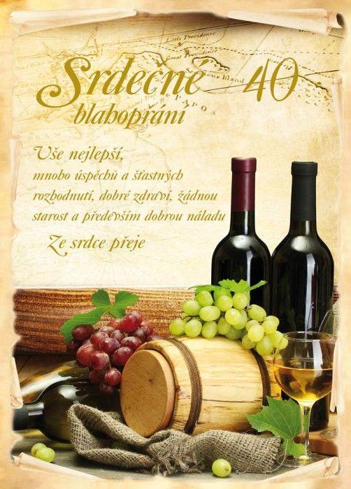 Blahopřání A4 STIL k výročí 40 víno
