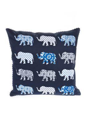 Elise  James Home  Navy Global Elephant Decorative Pillow
