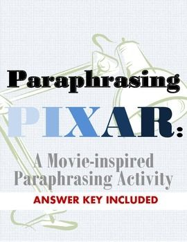 Students need to learn how to paraphrase in order to successfully right academic papers in the future. This fun activity lets them paraphrase PIXAR quotes that they already love!