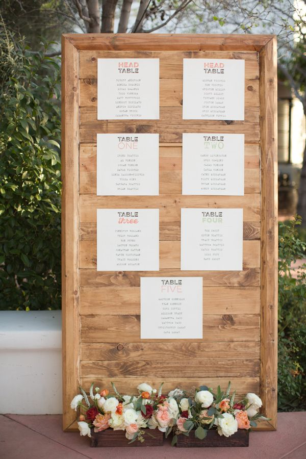 rustic seating chart - photo by Amy and Jordan Photography http://ruffledblog.com/a-desert-chic-wedding-with-turquoise