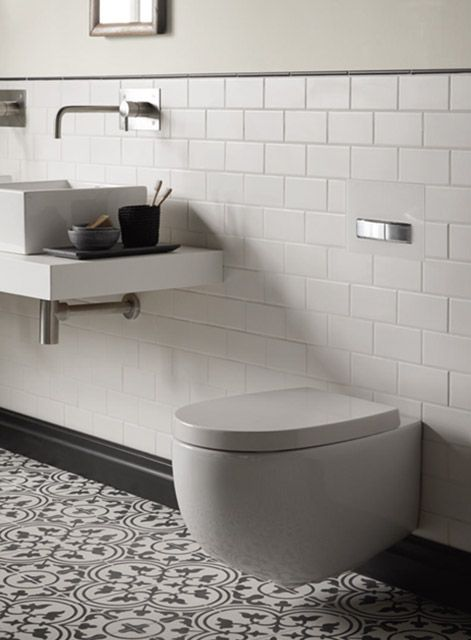 Maida Vale wall hung toilet with Suede and Toulouse tiles http://www.firedearth.com/bathrooms/type/ceramic-collections?bathroom_range=1100