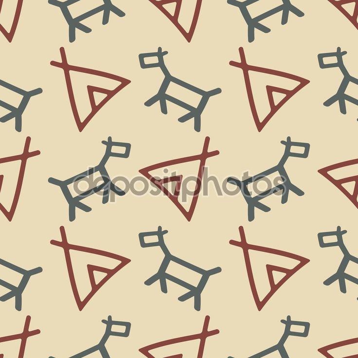 Бесшовный фон с индейские символы — стоковая иллюстрация #70822895