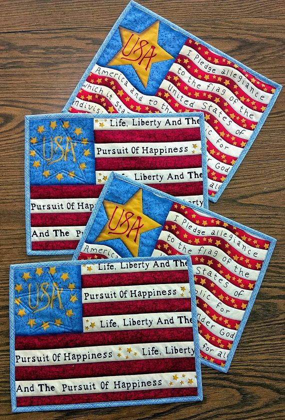 Quilted Placemats Fourth Of July Set Of 4 Placemats Blue Placemats Place Mats Quilted Placemats