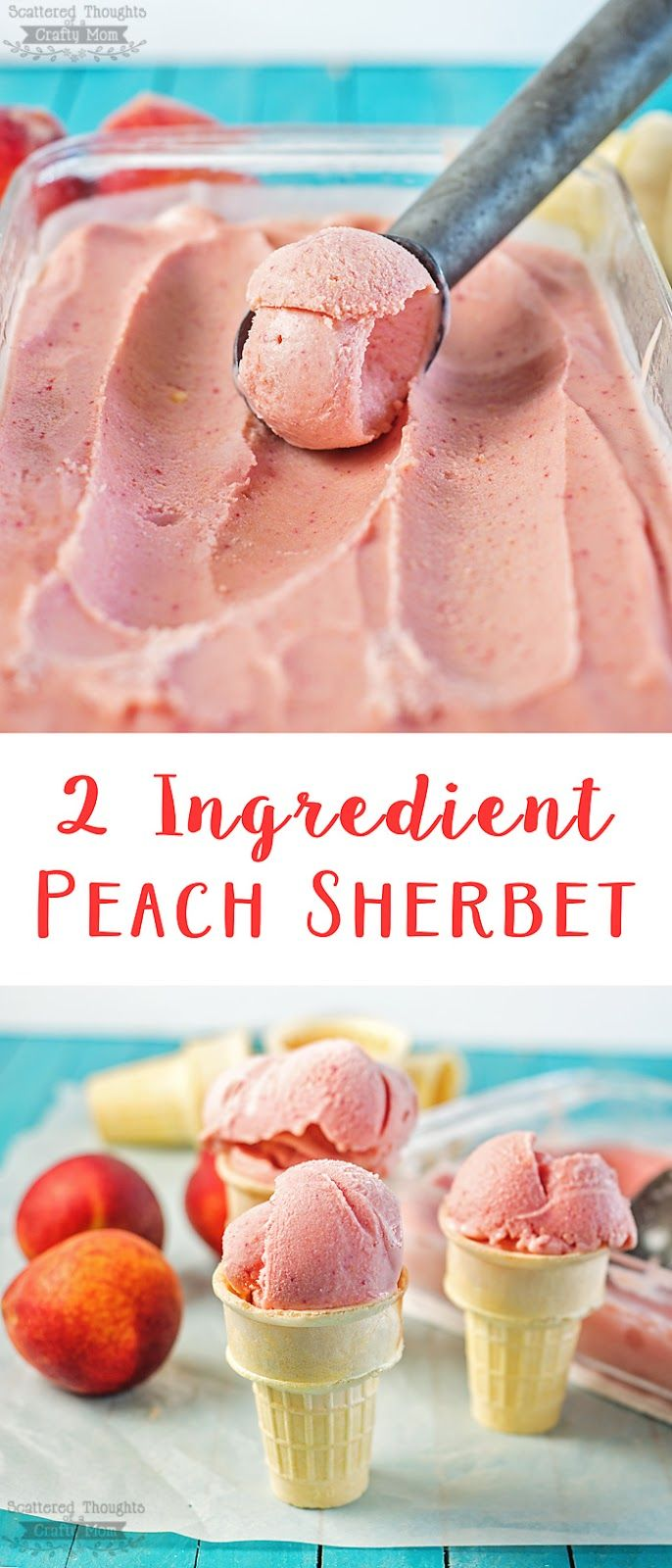 Craving a sweet treat? Make this yummy peach sorbet in just a few minutes and with only 2 ingredients! (peach recipes)