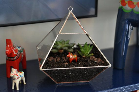 Air Terrarium Kit, pyramid top glass terrarium for hanging or to sit -- copper or silver color -- terrarium supplies -- eco friendly via Etsy