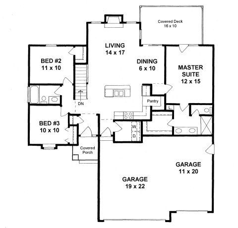 Plan 1279 1200 sq ft house plan with 3 car garage and for 2 car garage square footage