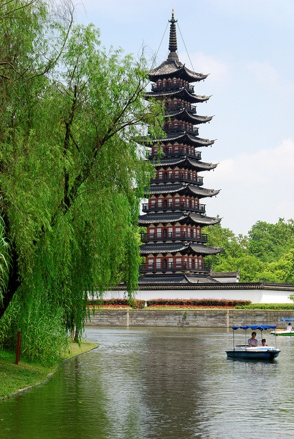 When many people think of pagodas, they usually generalize that Japanese ones are square and Chinese ones octagonal, without realizing that square ones were prevalent in China as well until the Song Dynasty. Although only a few timber ones are extant today, the Square Pagoda (Fang Ta) in Shanghai is a beautiful example, built during the Song Dynasty in 1068-1077.
