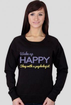 Wake up happy. Sleep with a psychologist - długi rękaw, 113,00 zł, #psychologia, #psychology, #psychopraca, #cupsell, #gifts, #prezenty, #wakeuphappy