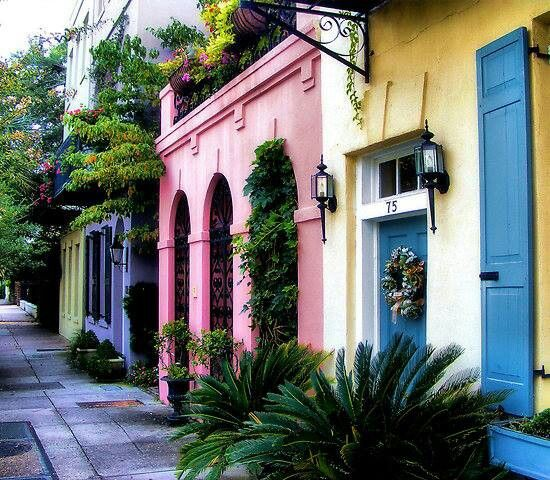 this colorful row of thirteen historical houses is located in South Carolina