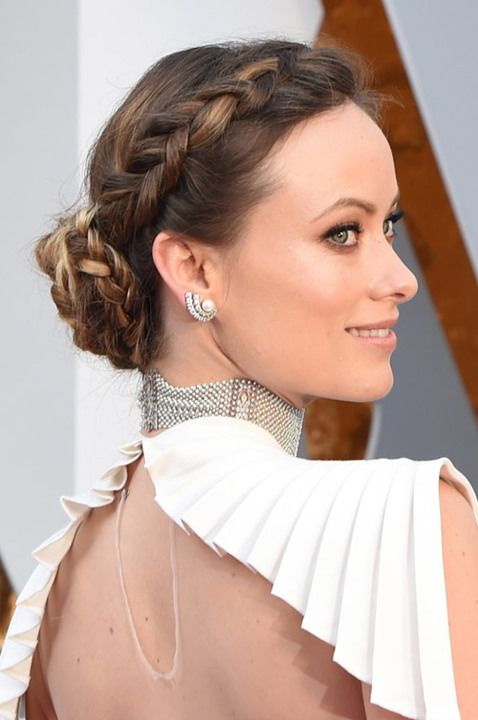Penteado coque e trança de Olivia Wilde no Oscar 2016   braid party hairstyle