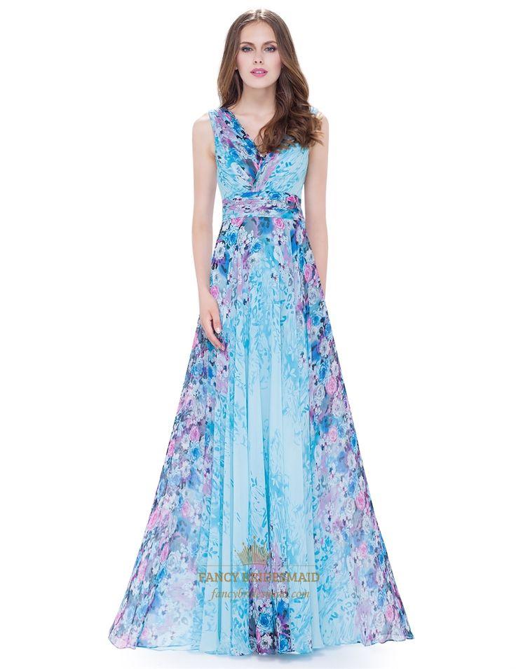 Women'S V Neck Floral Print Ruched Empire Waist Chiffon ...