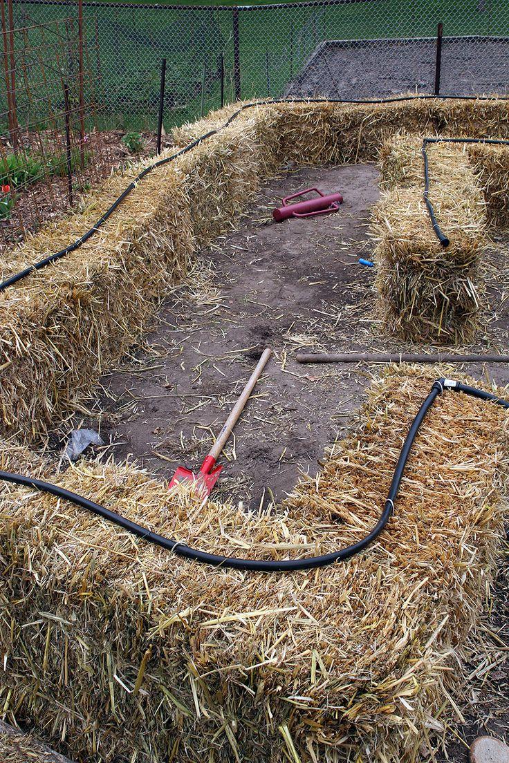 Setting Up the Irrigation | Straw Bale Gardening