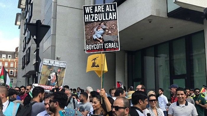 Marcha pró-Hezbollah e anti-Israel em Londres com autorização do presidente da câmara o muçulmano Sadiq Khan