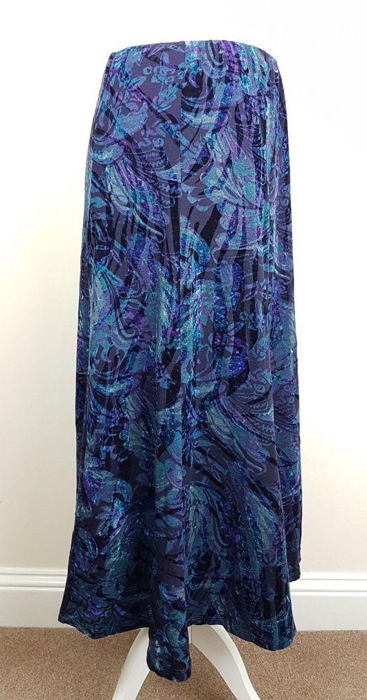 42ee8d1e1f3 Ladies M S Marks Spencer Classic Velvet Flock Elasticated Waist Skirt. Size  20  fashion