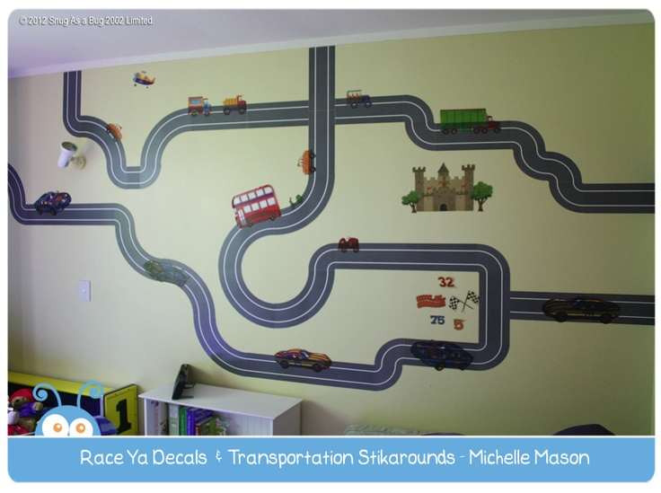 Race Ya Decals & Transportation Stikarounds by Michelle Mason.  Vote for Michelle if you think this is the best kids room!