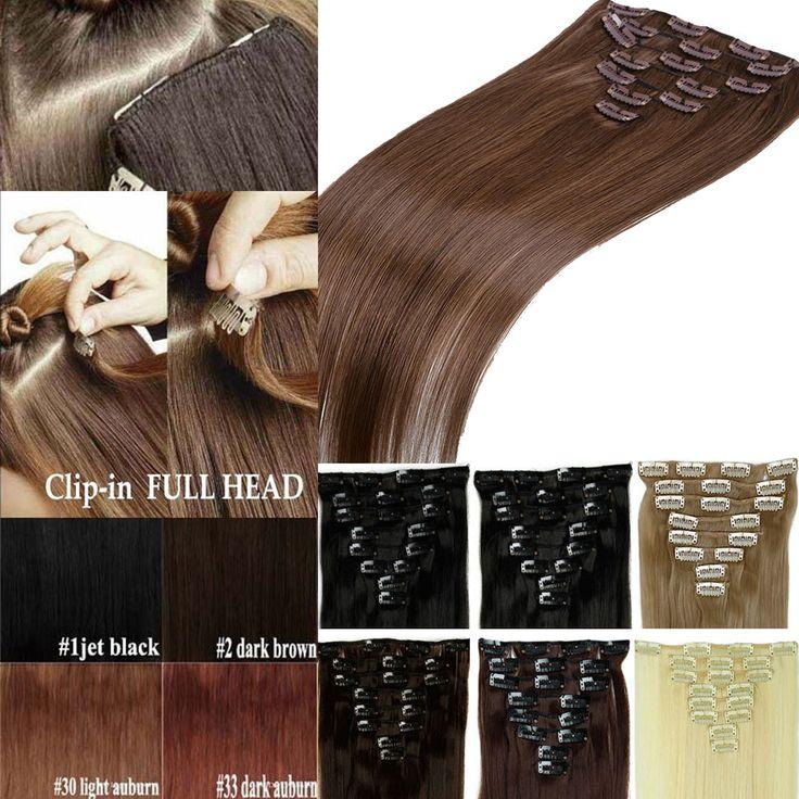 Termurah 1 Set 8 pcs Klip Di Hairpieces 66 cm 26 inch 7 pcs + 1 pc/set Alami Gaya Hairpieces Rambut Klip Sintetis Rambut Ekstensi