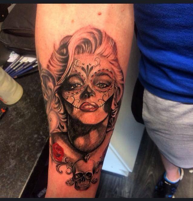 Day of the dead Marilyn Monroe tattoo by Jamie