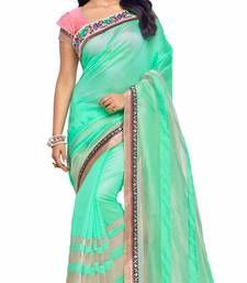 Buy Green plain art silk saree with blouse south-indian-saree online