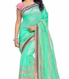 Buy Green plain art silk saree with blouse south-indian-saree online