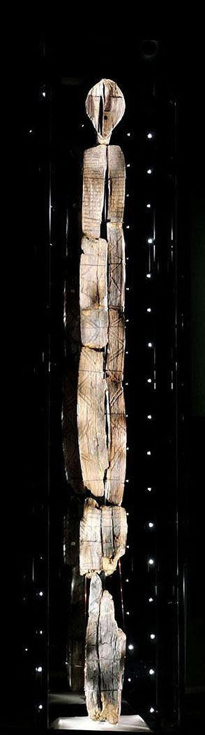 Shigir Idol ~ The Idol, twice as ancient as the Egyptian Pyramids, is the oldest wooden statue in the world, estimated as having been constructed approximately 9,500 years ago, and preserved as if in a time capsule in a peat bog on the western fringe of Siberia. It's covered with symbols and pictograms and the geometrical ornament had some meaning. The difficulty of interpretation is the possible multiple related meanings. Scientists wonder if it's a lost written language or coded?