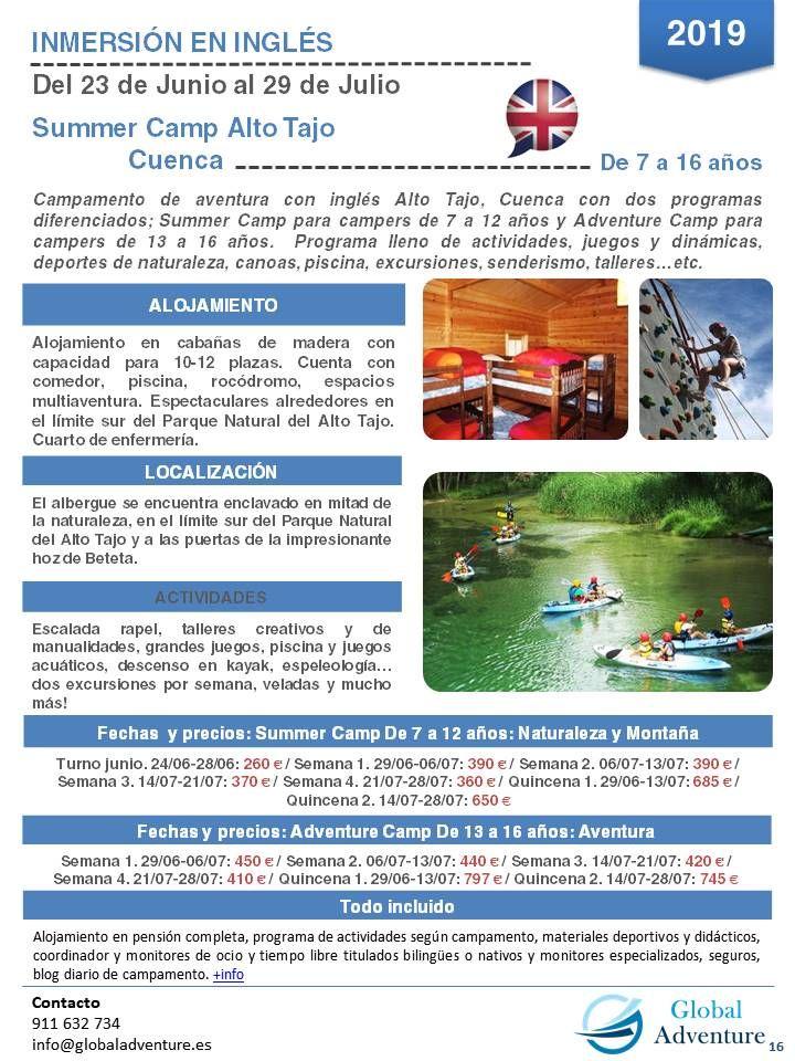 Campamento Inmersión En Inglés En Alto Tajo Cuenca Campamento De Verano Campamento Deportes De Aventura
