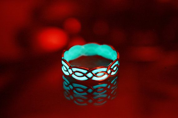 Celtic ring GLOW in the DARk Sterling Silver by Papillon9 on Etsy, $35.00 This is cool.