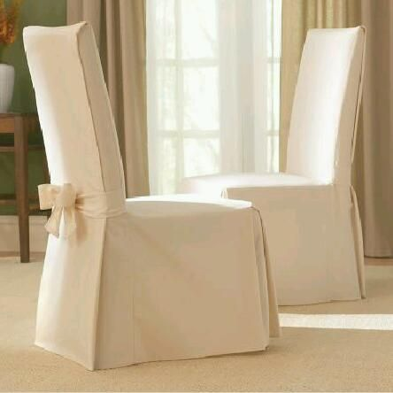 Sure Fit Slipcovers Cotton Duck Long Dining Room Chair Slipcover